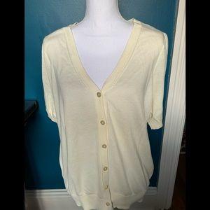 (2 for $20) Loft cream short sleeved cardigan